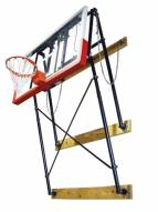 "Gared Four-Point Fold-Up Wall Mount Basketball Backstop with 63"" x 36"" Backboard Mounting"