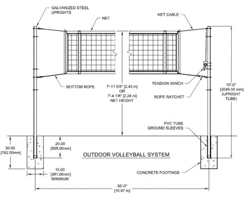 gared outdoor volleyball net system rh sportsunlimitedinc com Volleyball Court Diagram Volleyball Setting Diagram
