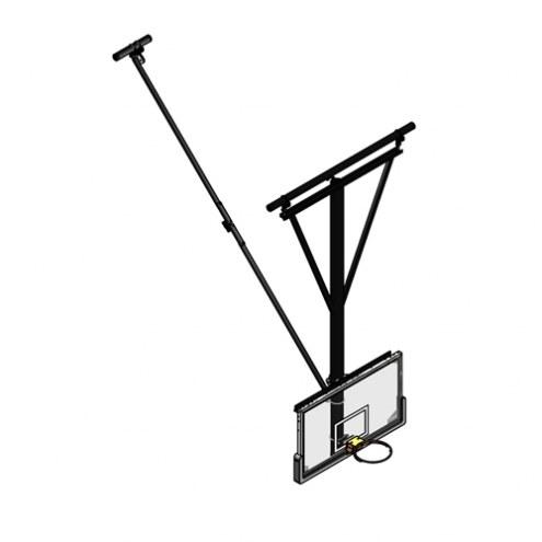 Gared Rear Fold / Rear Braced Ceiling Suspended Basketball Backstop