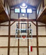Gared Side-Fold Wall Mount Basketball Hoop with Glass Board and Electric Height Adjuster