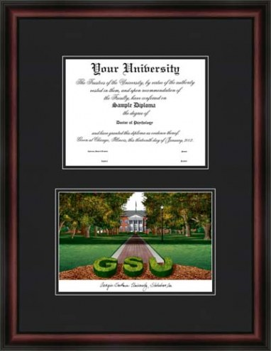 Georgia Southern University Diplomate Framed Lithograph with Diploma Opening