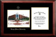 George Mason Patriots Gold Embossed Diploma Frame with Campus Images Lithograph