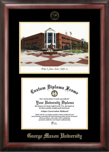 George Mason Patriots Gold Embossed Diploma Frame with Lithograph