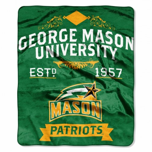 George Mason Patriots Label Raschel Throw Blanket