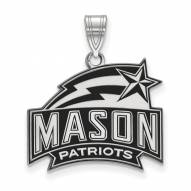 George Mason Patriots Sterling Silver Large Enameled Pendant