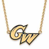 George Washington Colonials Sterling Silver Gold Plated Large Pendant Necklace