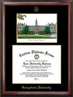 Georgetown Hoyas Gold Embossed Diploma Frame with Campus Images Lithograph