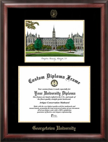 Georgetown Hoyas Gold Embossed Diploma Frame with Lithograph