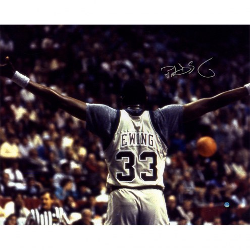 """Georgetown Hoyas Patrick Ewing Arms Out Signed 16"""" x 20"""" Photo"""
