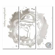 Georgetown Hoyas Triptych Watercolor Canvas Wall Art