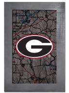 "Georgia Bulldogs 11"" x 19"" City Map Framed Sign"