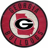 "Georgia Bulldogs 12"" Circle with State Sign"