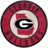 "Georgia Bulldogs 12"" Circle with State Sign"