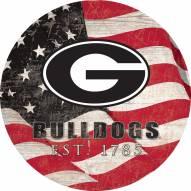 "Georgia Bulldogs 12"" Team Color Flag Circle Sign"