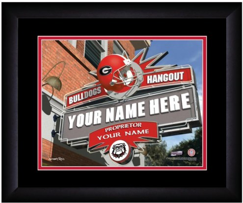 Georgia Bulldogs 13 x 16 Personalized Framed Sports Pub Print