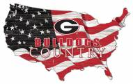 "Georgia Bulldogs 15"" USA Flag Cutout Sign"