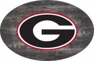 """Georgia Bulldogs 46"""" Distressed Wood Oval Sign"""