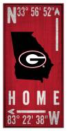 "Georgia Bulldogs 6"" x 12"" Coordinates Sign"