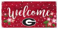 """Georgia Bulldogs 6"""" x 12"""" Floral Welcome Sign"""