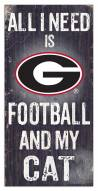 "Georgia Bulldogs 6"" x 12"" Football & My Cat Sign"
