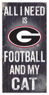 """Georgia Bulldogs 6"""" x 12"""" Football & My Cat Sign"""