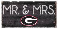 "Georgia Bulldogs 6"" x 12"" Mr. & Mrs. Sign"