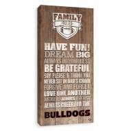 Georgia Bulldogs Family Rules Icon Wood Printed Canvas