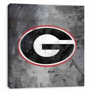 Georgia Bulldogs Logo Rust Printed Canvas