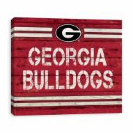 Georgia Bulldogs Rustic Banner Large Logo Printed Canvas