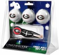 Georgia Bulldogs Black Crosshair Divot Tool & 3 Golf Ball Gift Pack