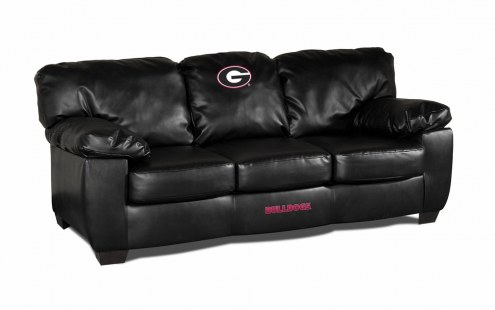 Georgia Bulldogs Black Leather Classic Sofa