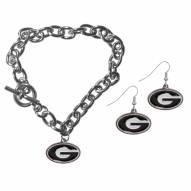 Georgia Bulldogs Chain Bracelet & Dangle Earring Set