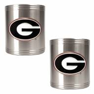 Georgia Bulldogs College Stainless Steel Can Holder 2-Piece Set