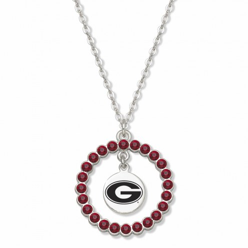 Georgia Bulldogs Crystal Wreath Logo Necklace