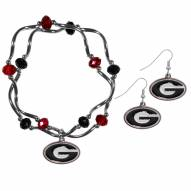Georgia Bulldogs Dangle Earrings & Crystal Bead Bracelet Set