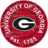 Georgia Bulldogs Distressed Round Sign