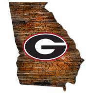 Georgia Bulldogs Distressed State with Logo Sign