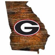 Georgia Bulldogs Distressed State with Logo Sign