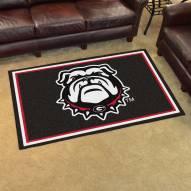 Georgia Bulldogs Dog Head 4' x 6' Area Rug
