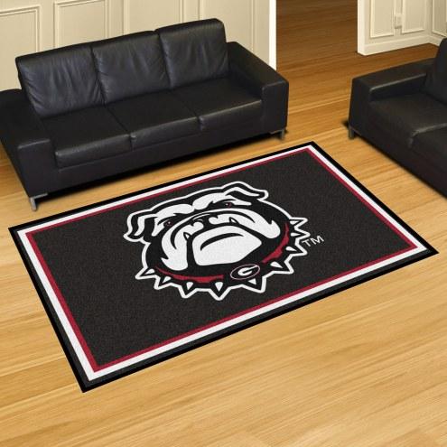 Georgia Bulldogs Dog Head 5' x 8' Area Rug
