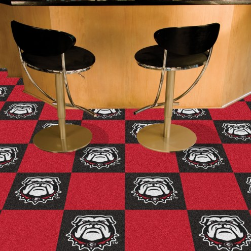 Georgia Bulldogs Dog Head Team Carpet Tiles