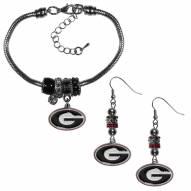 Georgia Bulldogs Euro Bead Earrings & Bracelet Set
