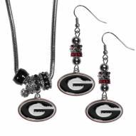 Georgia Bulldogs Euro Bead Earrings & Necklace Set