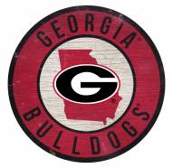 Georgia Bulldogs Round State Wood Sign