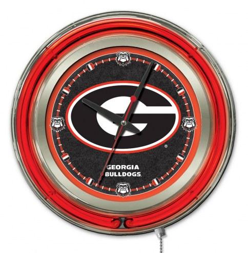 Georgia Bulldogs G Logo Neon Clock