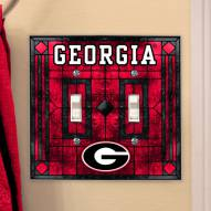 Georgia Bulldogs Glass Double Switch Plate Cover