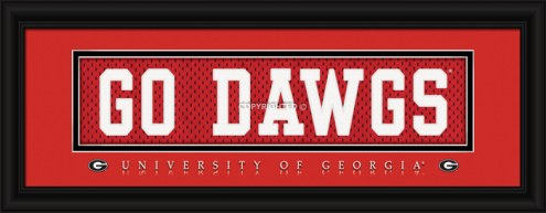 "Georgia Bulldogs ""Go Dawgs"" Stitched Jersey Framed Print"