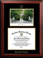 Georgia Bulldogs Gold Embossed Diploma Frame with Campus Images Lithograph