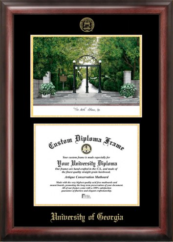 Georgia Bulldogs Gold Embossed Diploma Frame with Lithograph