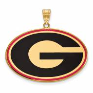 Georgia Bulldogs Sterling Silver Gold Plated Extra Large Enameled Pendant